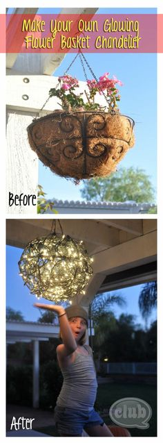 Repurpose Flower Baskets into a Glowing Outdoor Chandelier - Basket, Chandelier, Flower, Glowing, Outdoors, Recycle