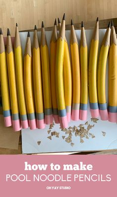 how to make large pencils out of pool noodles. Back To School Party, Back To School Crafts, 1st Day Of School, School Parties, Sunday School, Class Decoration, School Decorations, School Themes, Crayon Decorations