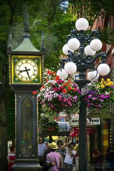 Vancouver, BC  Gastown in the Summer with Beautiful Hanging Baskets at the Historic Gastown Clock  #jefffitzpatrick