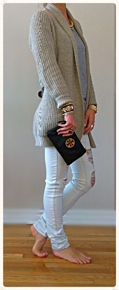 Cute sweater outfit...Cardigan & ripped jeans