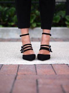thin black strappy pumps