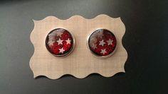 Handgemacht Cabochon Ohrringe Ohrstecker Stars and Glitter versilbert 14mm Handmade