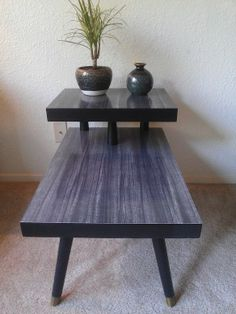 Mid Century Two Tiered End Table, Black
