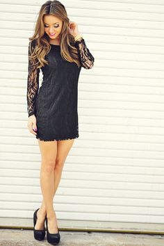 Leaf Me Be Lace Dress: Black