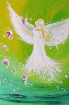 """Limited angel art poster """"path of the heart"""", modern contemporary angel painting, artwork, print, glossy photo❤️ Beautiful! Photo Ange, I Believe In Angels, Angel Heart, Angel Wings, Kunst Poster, Angel Pictures, Angels Among Us, Angels In Heaven, Guardian Angels"""