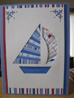 Sailboat Card:  iris fold using Doodlebug paper & Anna Griffin corner punch