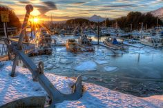 A winter in the Kodiak docks.  Photo by: Marion Owen #kodiak #alaska