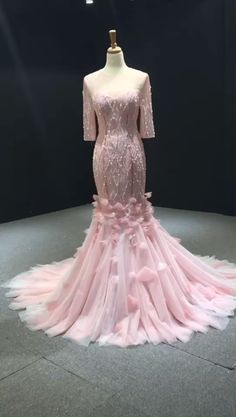 Fairy Pink Mermaid Prom Dresses with Sleeves Beaded Pageant Dress Formal Dresses For Weddings, Event Dresses, Formal Evening Dresses, Evening Gowns, Prom Dresses With Sleeves, Mermaid Prom Dresses, Bridal Dresses, Bridesmaid Dresses, Sweet 15 Dresses