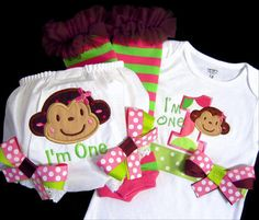 First Birthday Girl, Mod Monkey, Birthday Outfit, I'm One, Number One, M2M. $69.50, via Etsy.