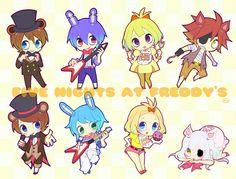 Freddy, Bonnie, Chica, Foxy, cute, Toy Freddy, Toy Bonnie, Toy Chica, Mangle, chibi, text, FNAF 2, human form, boy, girl; Five Nights at Freddy's