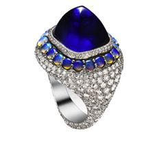 18k white gold, sugarloaf cabochon sapphire, opal & diamond ring // bogh-art