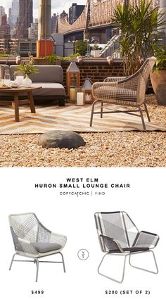 @westelm Huron Large Lounge Chair $499 vs Target Carag 3-Piece Sling Rope Chat Set - Threshold™ $200 | copy cat chic look for less
