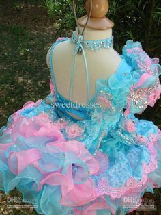 2014 new Cute Little flower girl Cupcake Glitz Pageant Dresses Beaded Organza pageant dress flower girl dresses party dresses