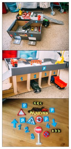 If you have kids, don't throw away cardboard box from new shoes. You can make good garage from it. Road signs made by Paper Crafting umfasst eine bre Cardboard Crafts Kids, Cardboard Car, Diy Crafts For Kids, Projects For Kids, Kids Diy, Cardboard Box Ideas For Kids, Cardboard Playhouse, Cardboard Furniture, Car Tracks For Kids