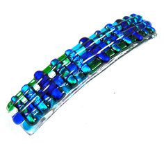 """Dichroic Hair Barrette 3.5"""" 9cm Turquoise Blue Fused Glass Green Emerald Stripes…"""