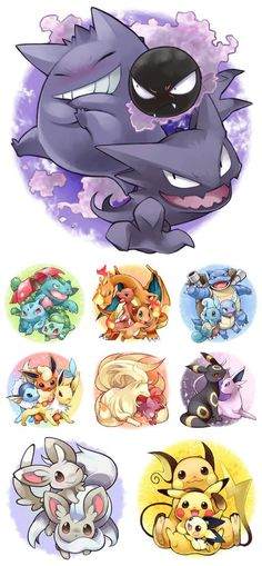 Pokemon <3 My childhood...and my favorites are at the top. :3 I love my ghost pokemon. x3 Called it. ._.: