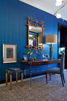 Modern and Contemporary Interior Designers in Manhattan, NY Kips Bay Showhouse, Condo Furniture, Contemporary Interior Design, Blue Walls, Decoration, Colorful Interiors, Manhattan, Modern, Room Ideas