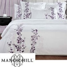 @Overstock - This Manor Hill Lilac duvet cover set features a beautiful solid white duvet cover with floral embroidered detail. This elegant comforter cover is the perfect option to revamp your bedroom.http://www.overstock.com/Bedding-Bath/Manor-Hill-Lilac-Queen-size-3-piece-Duvet-Cover-Set/5316253/product.html?CID=214117 CAD 101.53