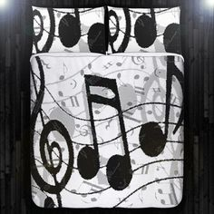 Treble Clef Note Sheet Music Duvet Cover Bedding Queen King Twin Size Sheet Blanket Full Double Comforter Toddler Daybed Custom Unique