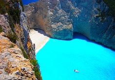 Navagio beach in Zakynthos, Greece.