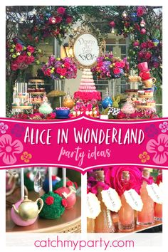 dance - Be blown away by this amazing Alice in Wonderland birthday party! The dessert table is magical! See more party ideas and share yours at CatchMyParty com catchmyparty partyideas aliceinwonderland aliceinwonderlandparty aliceinwonderlandtheme girlb Alice In Wonderland Tea Party Birthday, Alice In Wonderland Birthday, Mad Hatter Party, Birthday Party Themes, Birthday Ideas, Girl Birthday, Dessert Table, Party Ideas, Event Ideas