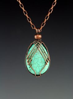 In this tutorial you will learn to make a criss cross pattern wire wrap for a tear drop shaped, top drilled stone. The back side is also criss crossed to continue the theme and finish the look of the pendant. This design is adaptable to other shapes and sizes of beads or cabochons. We will be using copper wire but any kind of wire comparable could be used. It is an elegant way of presenting your beautiful stone.