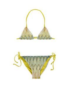 Ombre ripple-stitch string bikini with lycra lining.