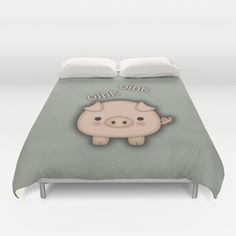 Cute Pink Pig Oink Duvet Cover by Tees2go - $99.00