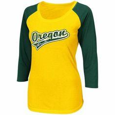 Oregon Ducks Ladies Short Stop Three-Quarter Sleeve T-Shirt -Yellow/Green
