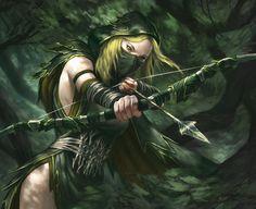 Shadow Sentinel Picture  (2d, fantasy, warhammer, elf, archer, girl, woman)