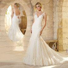 V Neck Backless Organza Floor Length Custom Made Formal Bridal Gowns Design Robe De Mariee HS318 Mermaid Wedding Dresses 2016