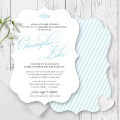 Elegant Christening or Baptism invitation for a little boy designed & printed on a scallop shaped double sided card by Peach Perfect Australia