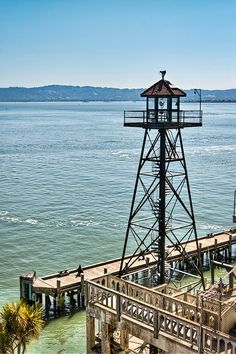 Alcatraz Watchtower - an image from Alcatraz Island. This is the watchtower in the harbor area of the island / San Francisco, California, USA