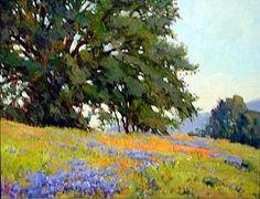 Poppies and Lupine by Michael Severin Oil ~ 16 Inches x 20 Inches