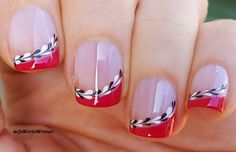 #Red #Frenchmanicure with #blackandwhite #naildesign Red French Manicure, French Manicure Designs, White Nail Designs, Nail Art Designs, Black And White Nail Art, White Nail Polish, Heart Nail Art, Heart Nails, Crystal Nails