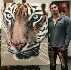 Behind The Scenes By arts_promote Animal Art Prints, Animal Paintings, Costume Rose, Realistic Oil Painting, Artist Painting, Photo To Cartoon, Big Cats Art, Watercolor Books, Still Life Drawing