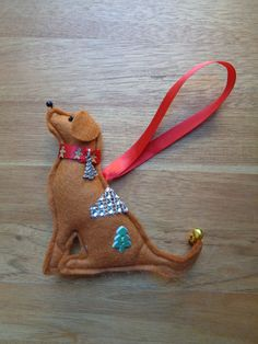 Handmade ginger brown felt Christmas Labrador retriever type dog hanging decoration red fox lab