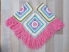 Items similar to Crochet ivory poncho with granny square motifs-valentines day-gift guide-fall winter fashion on Etsy Crochet Baby Poncho, Crochet Poncho Patterns, Knitting Patterns Free, Crochet Granny, Free Pattern, Granny Square Poncho, Granny Squares, Crochet For Kids, Crochet Projects