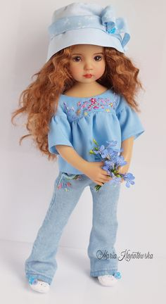 Azure Sky Outfit for dolls Little Darling Effner: blouse jeans hat shoes Sewing Doll Clothes, American Doll Clothes, Sewing Dolls, Clothes Crafts, Girl Doll Clothes, Doll Clothes Patterns, Doll Patterns, Girl Dolls, Pretty Dolls