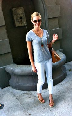 grey tee, white jeans, tan accessories - very clean look