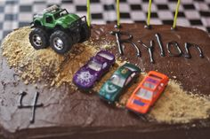 Easy Monster Truck Cake | two rectangle frozen cakes monster truck and 3 Matchbox cars graham ...