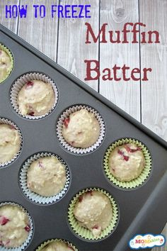 How to Freeze Muffin Batter - awesome, I didn't even know you could do this! # Baking muffins How to Freeze Muffin Batter Make Ahead Freezer Meals, Crock Pot Freezer, Freezer Cooking, Cooking Recipes, Freezer Recipes, Cooking Tips, Freezer Desserts, Freezable Meals, Batch Cooking