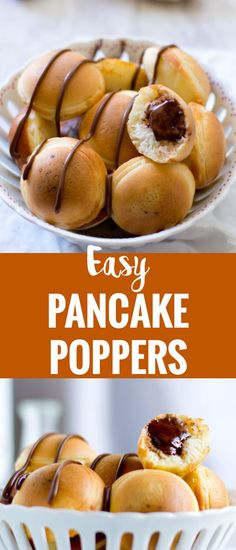 Pancake poppers, fun idea to make easy east breakfast recipe. Learn how to make food in the lazy mornings. Perfect for families, taste like mini muffins. Mad with nutella, also make it with peanut butter, cream cheese, blueberry, strawberry. A good dessert to make with chocolate chip. Serve it with honey oror maple syrup. #breakfast #kids #pancake