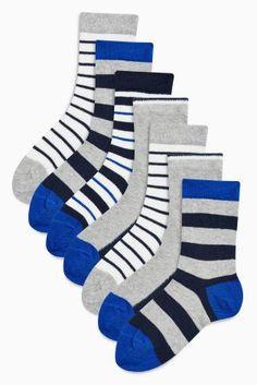 50fd0270bf0ad Buy Navy/Grey Stripe Socks Seven Pack (Older Boys) from the Next UK online  shop