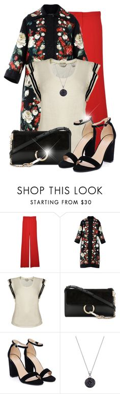 """Saturday Night Date"" by dixiebelle81 ❤ liked on Polyvore featuring Rochas, Dolce&Gabbana, Maison Scotch, Chloé, Nasty Gal, Shamballa Jewels, dressy, DateNight, red and floralprints"