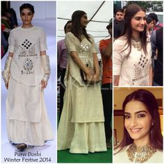Sonam Kapoor and Fawad Khan visited a Jaipur college earlier today to promote their new film 'Khoobsurat'.  Sonam Kapoor gave us another drool worthy look - this time in an ensemble from Purvi Doshi
