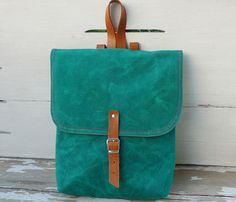 Mini Green Backpack (made from waxed canvas)