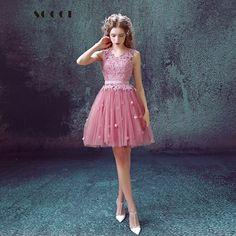Pink Tulle Lace Short V-Neck Sleeveless Bridemade Dress 2016 Above Knee Mini A-Line Princess Bride Wedding Dinner Party Dresses