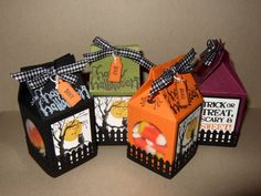 Halloween Mini Milk Carton Treats by bzimmer - Cards and Paper Crafts at Splitcoaststampers Dulceros Halloween, Halloween Paper Crafts, Manualidades Halloween, Halloween Favors, Candy Crafts, Holidays Halloween, Fall Crafts, Holiday Crafts, Halloween Decorations