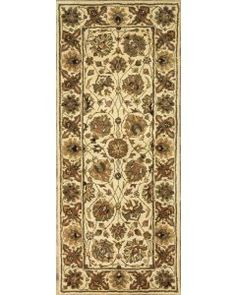 Handmade Rectangular Persian Sultanabad Runner Area Rug in Ivory with Green Accents 62747, 2x10